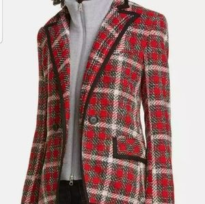 VERONICA BEARD Harriet Cutaway Red Plaid Blazer